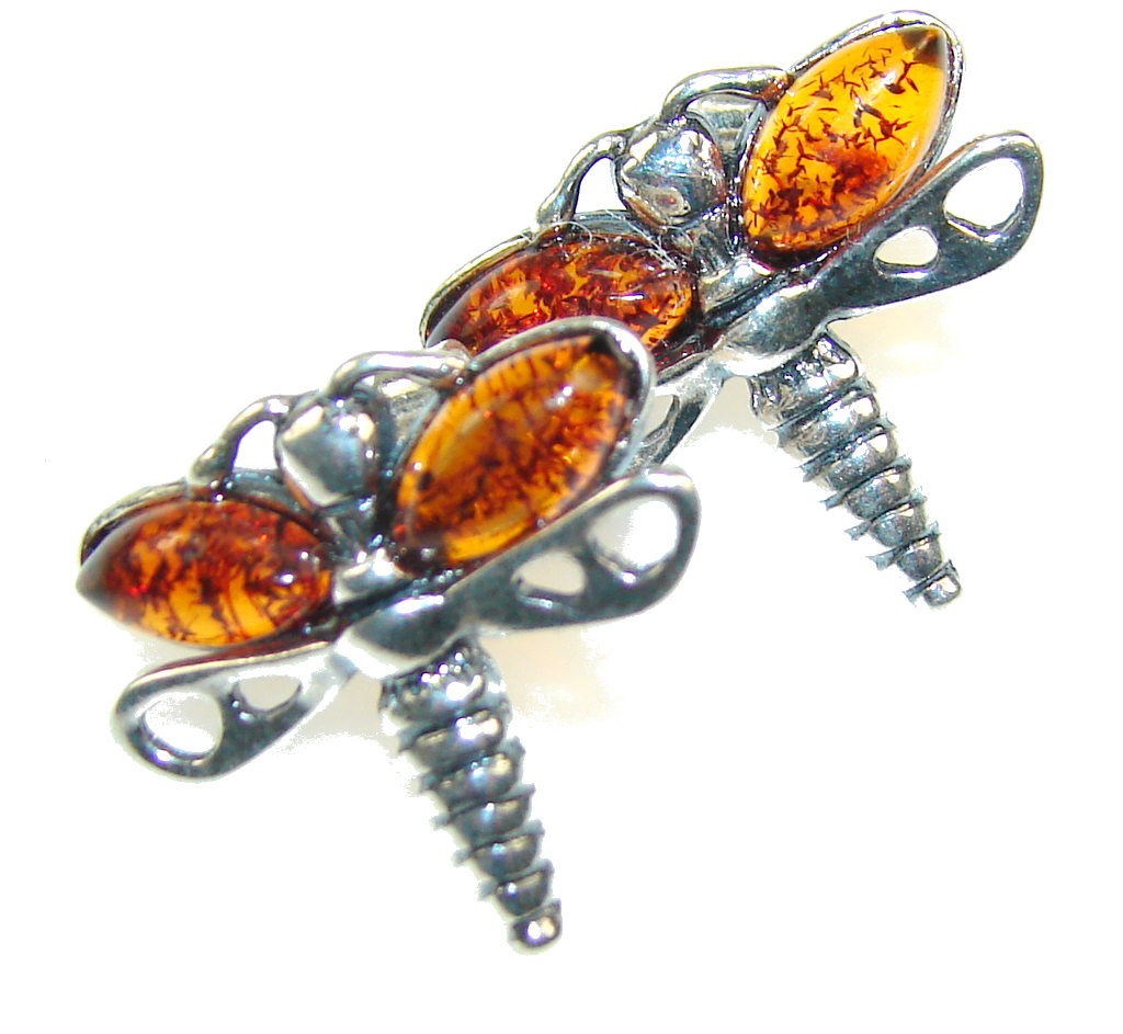 Precious Design!! Polish Amber Sterling Silver earrings