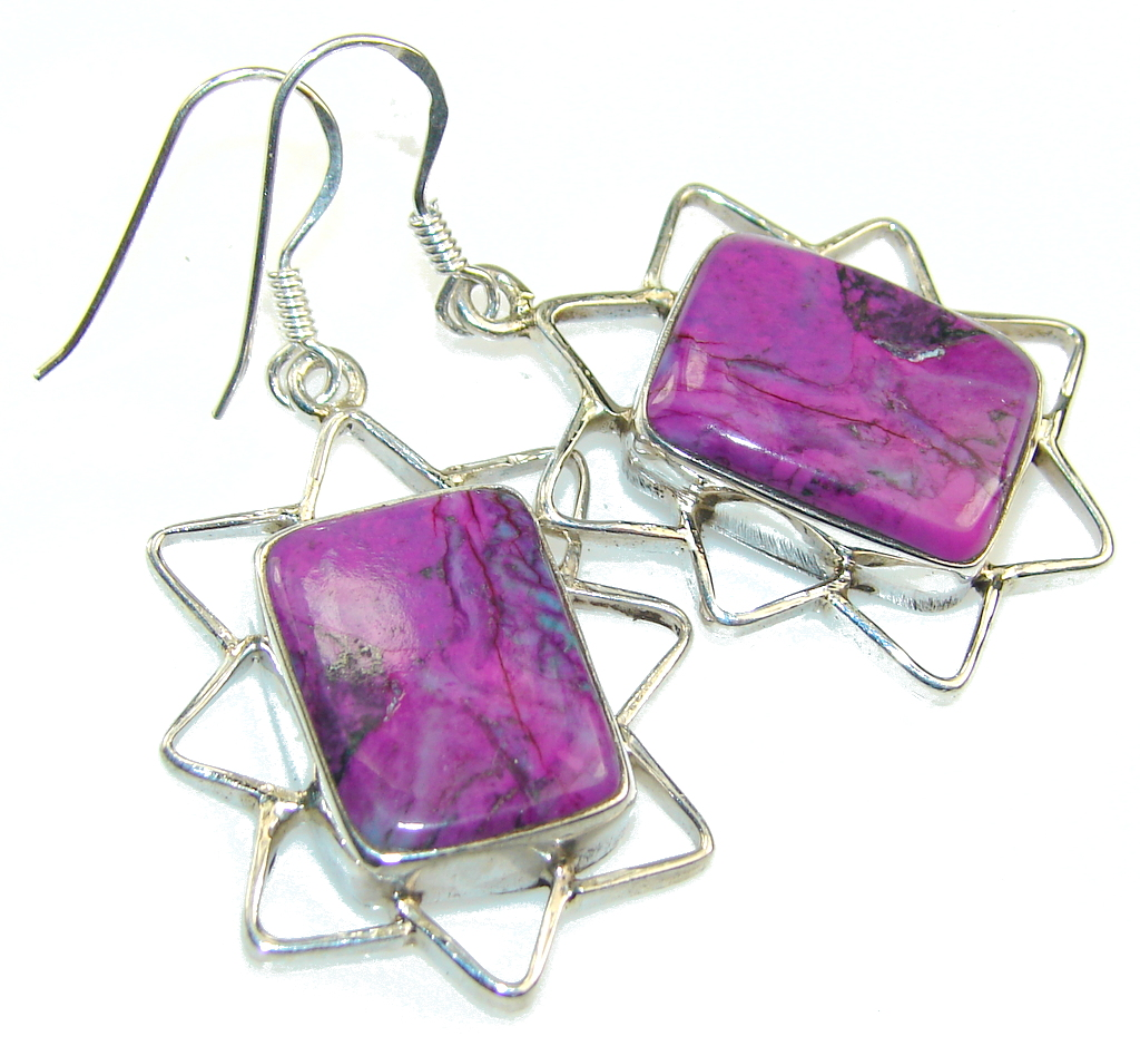 Classic Purple Turquoise Sterling Silver earrings