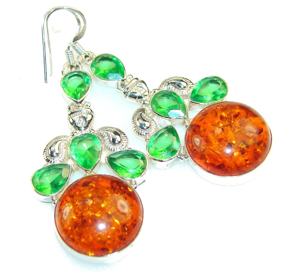 Fantastic Brown Amber Sterling Silver earrings