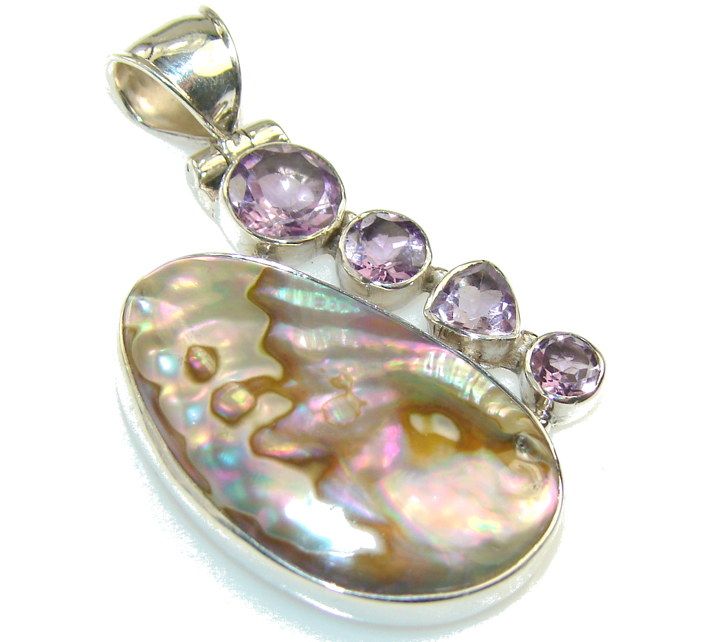Amazing Rainbow Abalone Sterling Silver Pendant