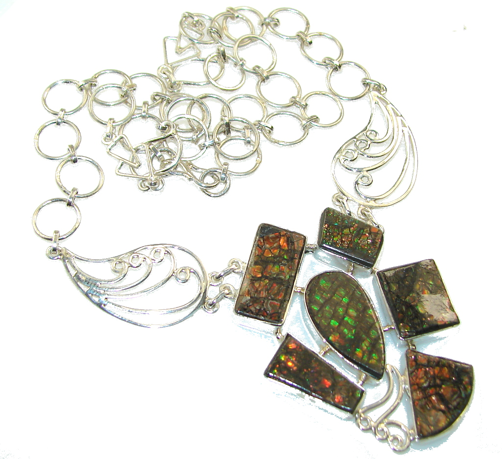 Beautiful Red Ammolite Sterling Silver necklace
