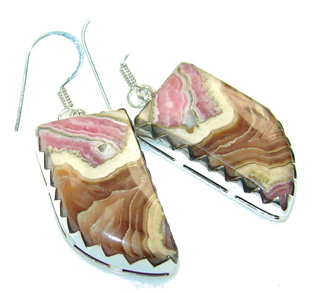 Fantastic Brown Rhodochrosite Sterling Silver earrings