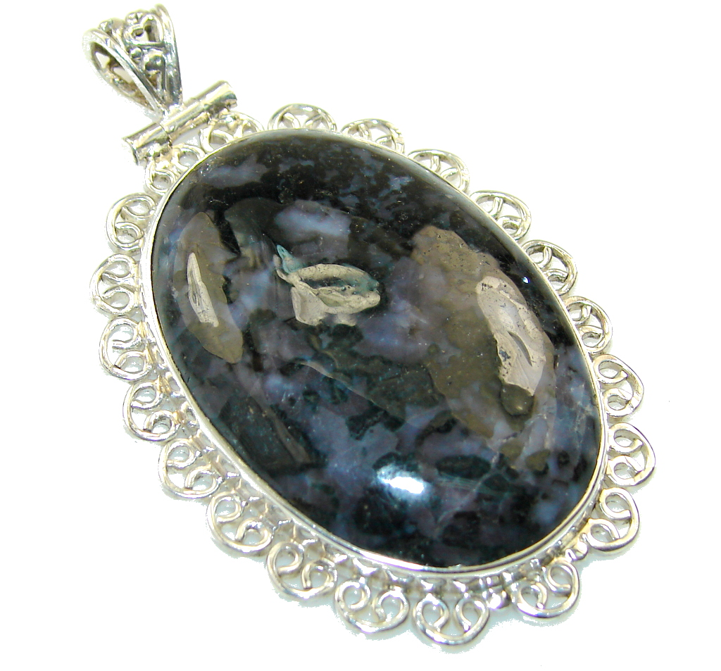 Beautiful Black Moss Agate Sterling Silver pendant
