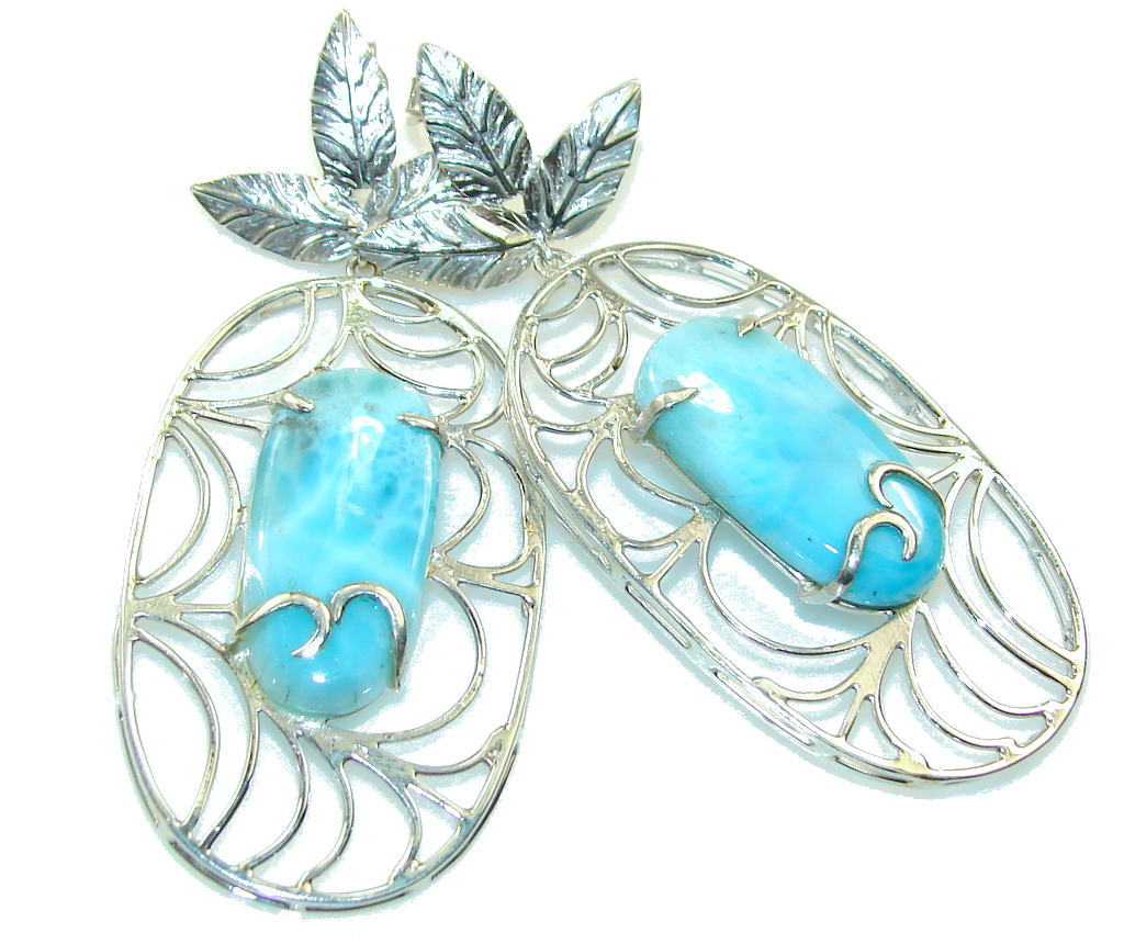 Big! Stylish Light Blue Larimar Sterling Silver earrings