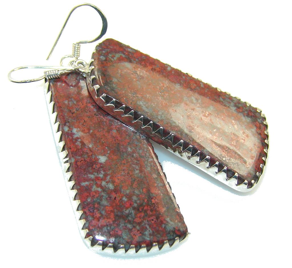 Evening Tide!!Red Sonora Jasper Sterling Silver earrings