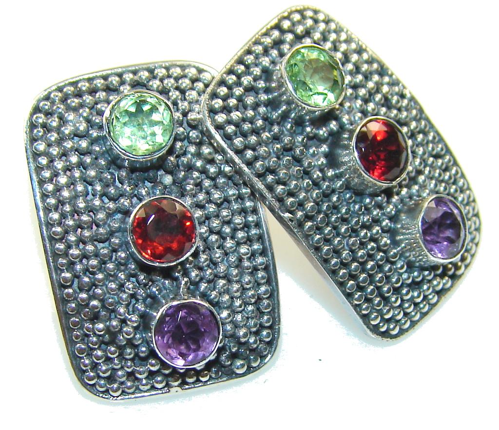 Fabulous!! Multigem Sterling Silver Earrings