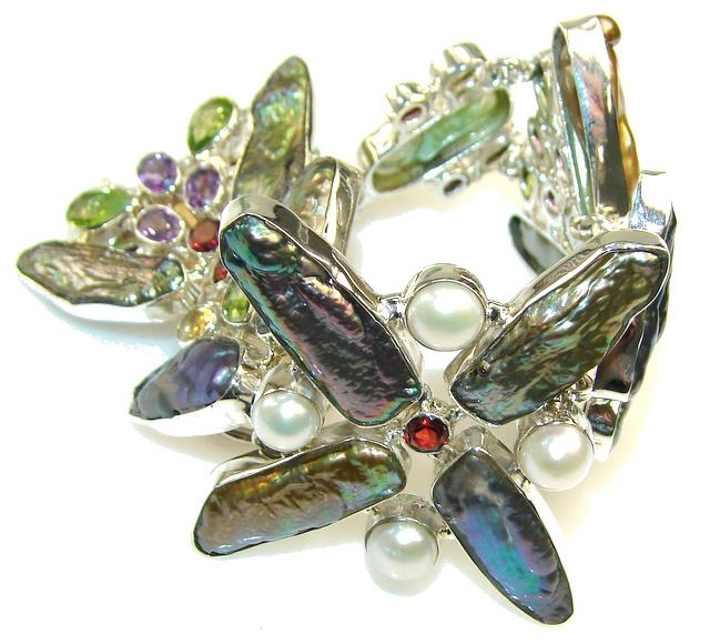 Aura Of Beauty! Mother Of Pearl Sterling Silver Bracelet