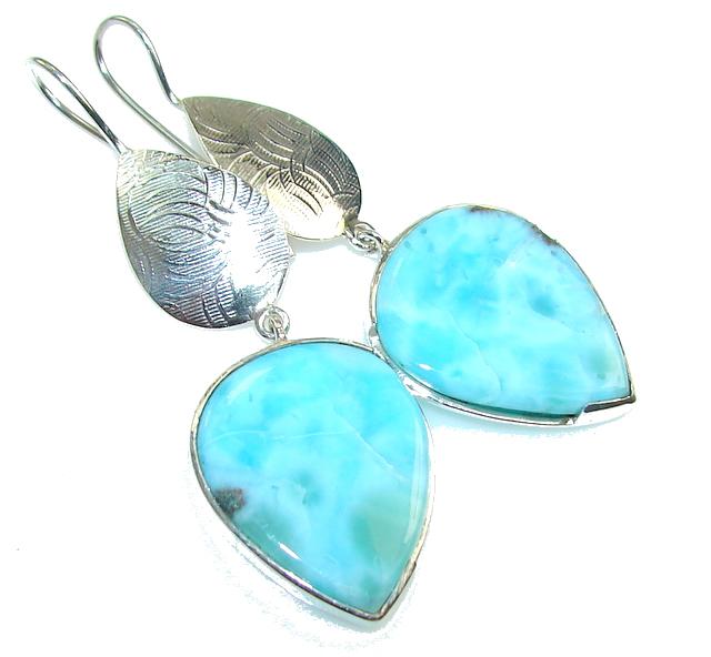 Jumbo Natural Deep Blue Larimar Sterling Silver earrings