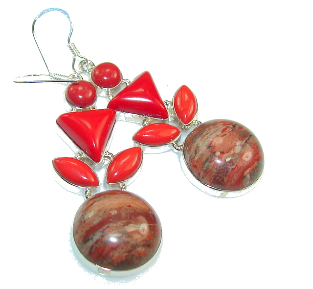 Classy Red Jasper Sterling Silver Earrings
