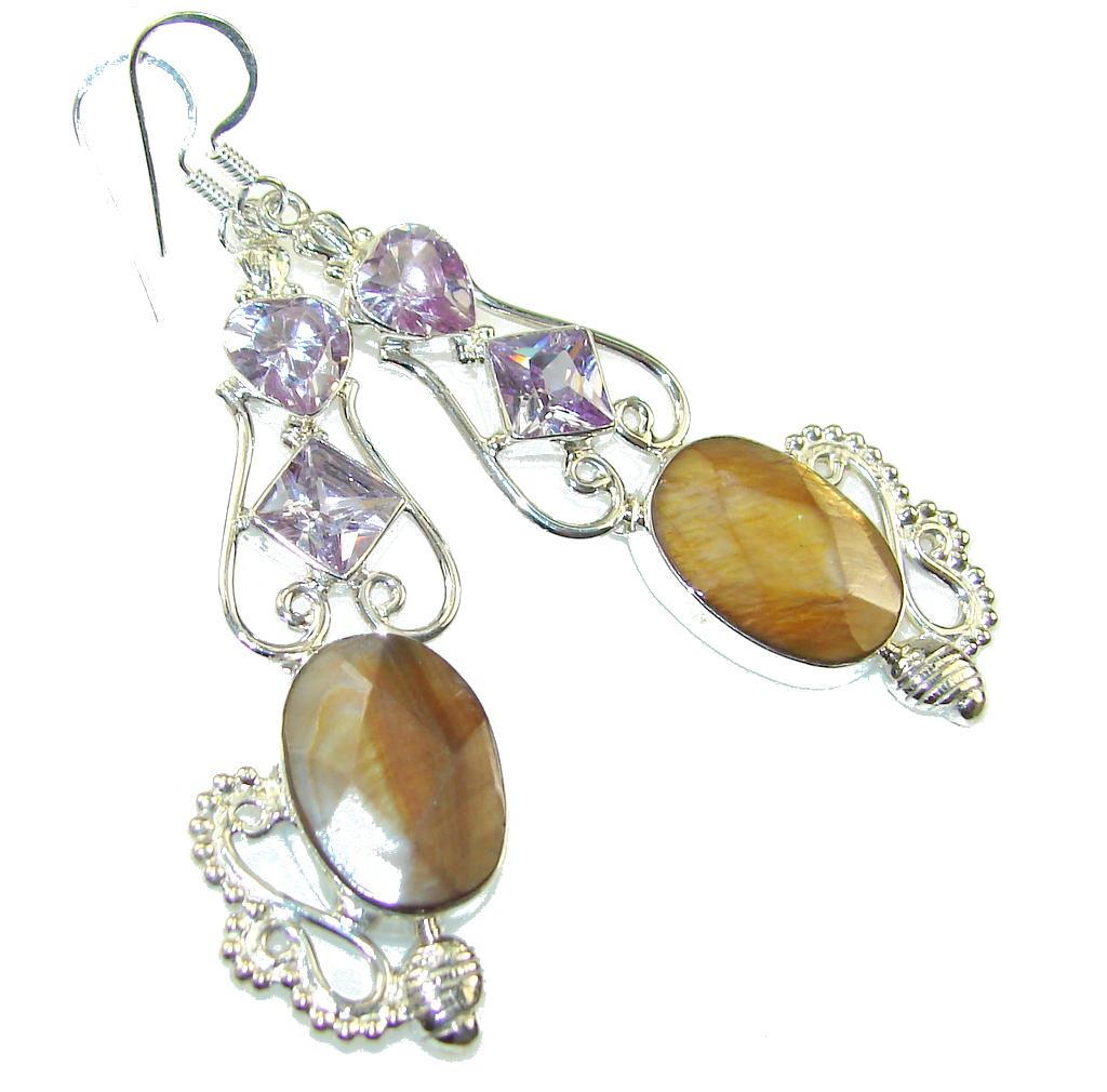 Amazing New DEsign!! Tigers Eye Sterling Silver earrings