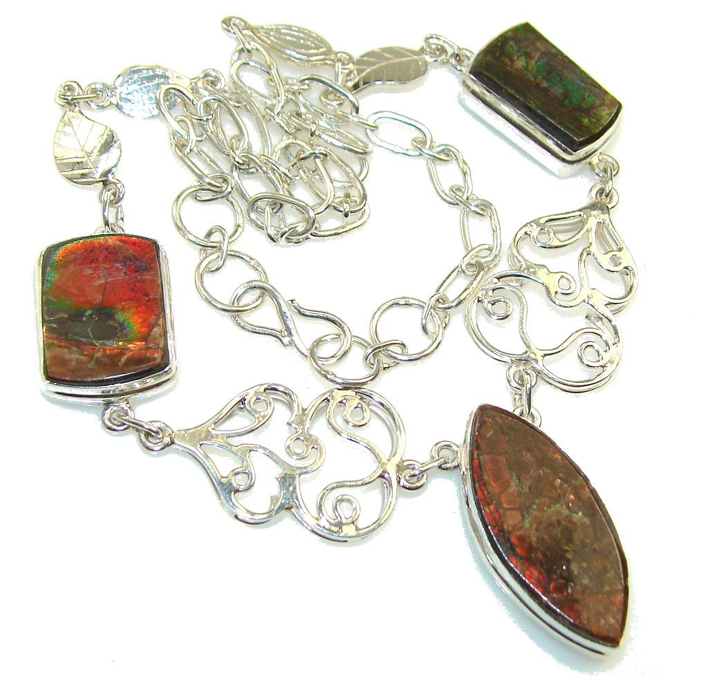 Natural Beauty! Ammolite Sterling Silver necklace