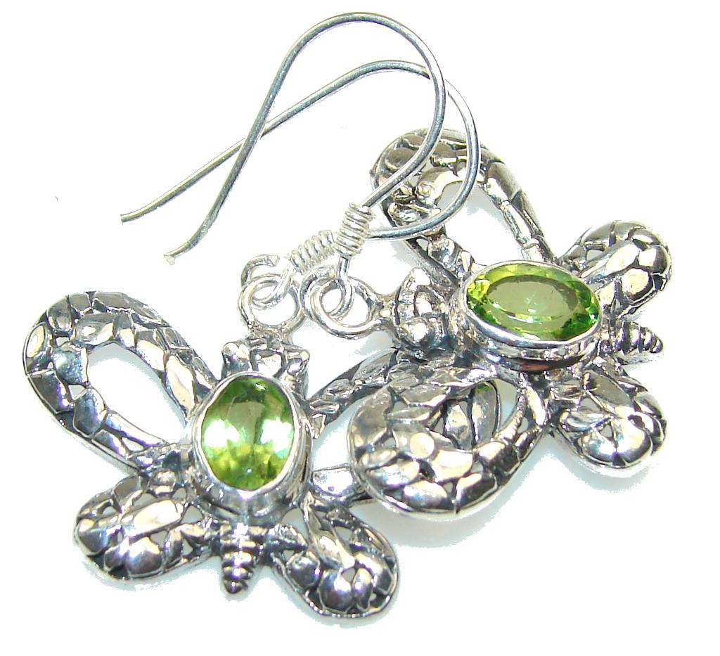 Awesome Green Peridot Quartz Sterling Silver earrings