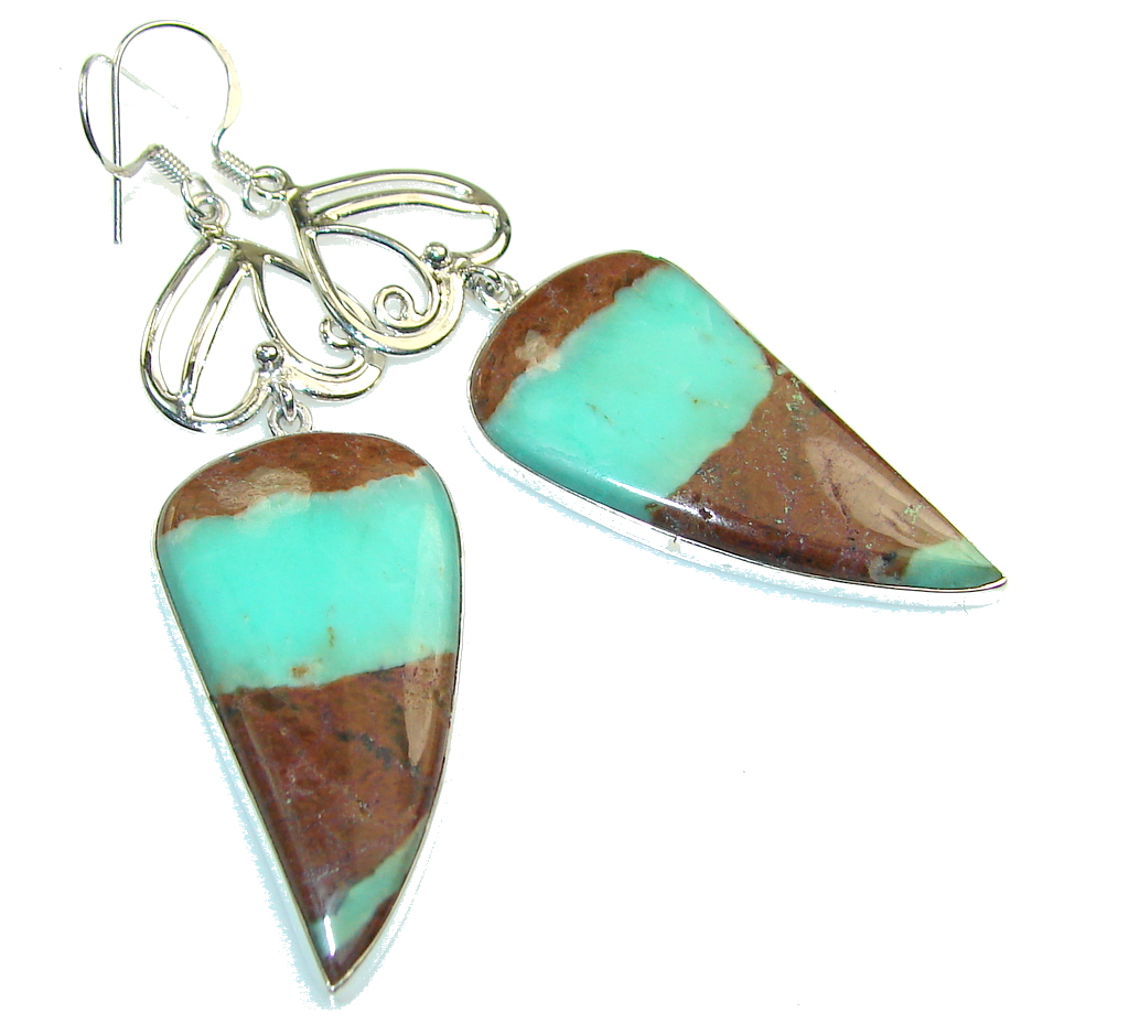 Awesome Design!! Peruvian Green Opal Sterling Silver earrings