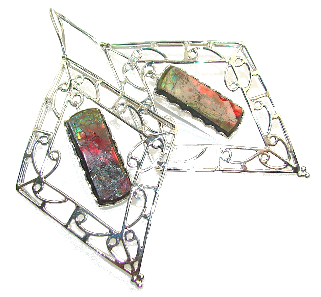 Big!! Amazing New Design! Ammolite Sterling Silver earrings / Long