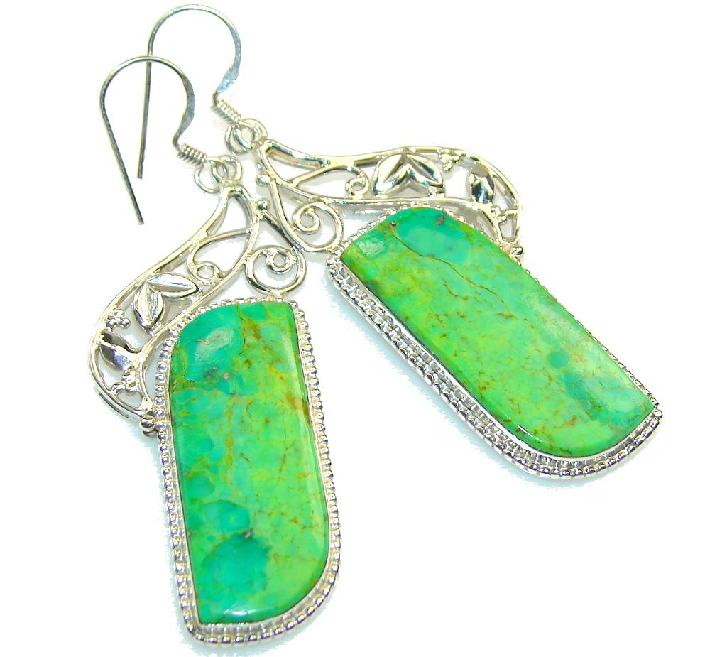 Garden Island!! Green Turquoise Sterling Silver earrings