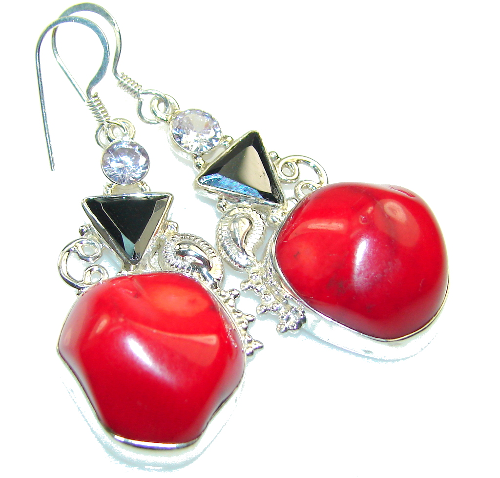 Fantastic Red Fossilized Coral Sterling Silver earrings