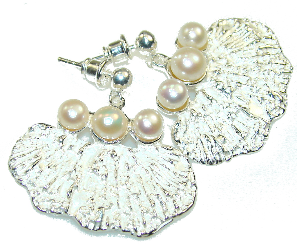 Amazing Italy Made White Fresh Water Pearl Sterling Silver Earrings