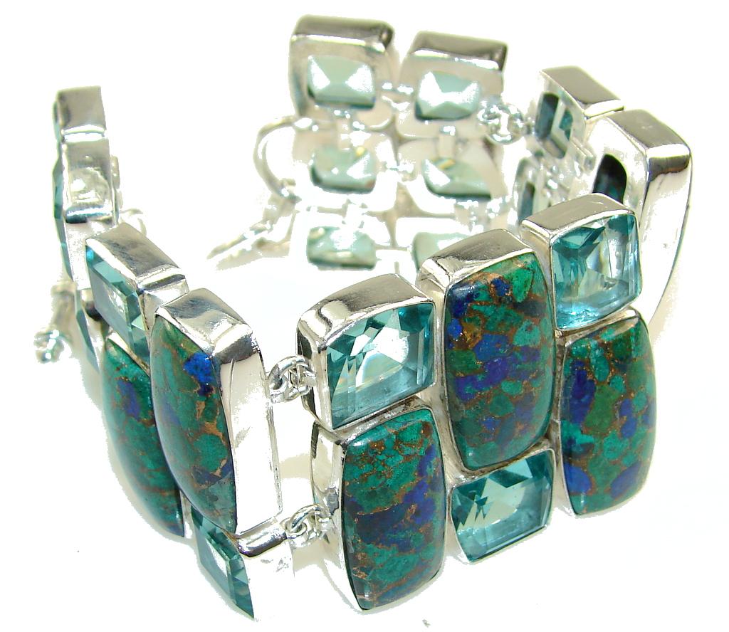 Beautiful! Crushed Copper Azurite Sterling Silver Bracelet