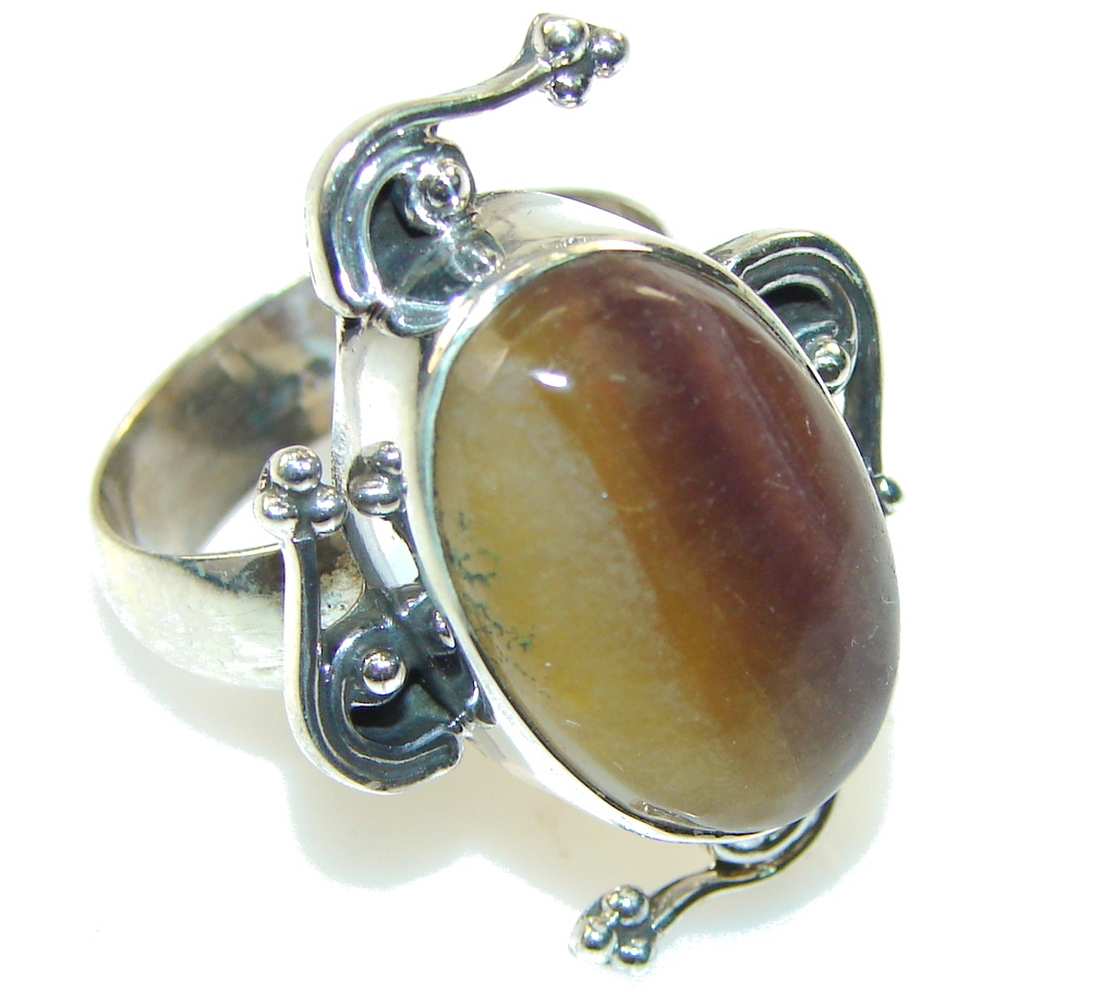 African Botswana Agate Sterling Silver Ring s. 9