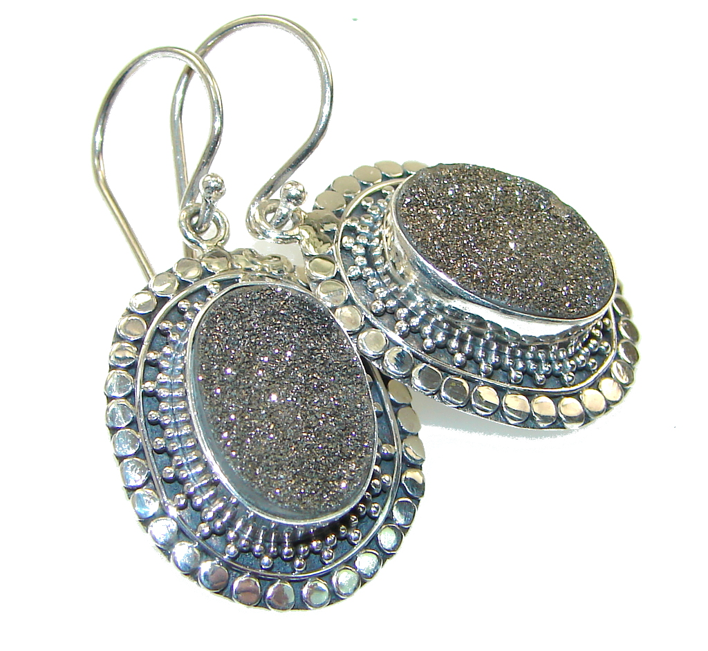 Classy Gray Druzy Sterling Silver earrings