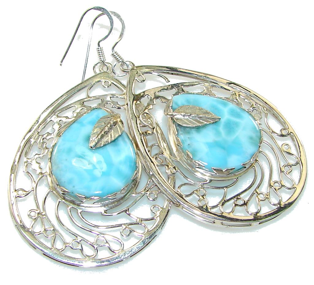 Big! Paradise Style!! Blue Larimar Sterling Silver earrings