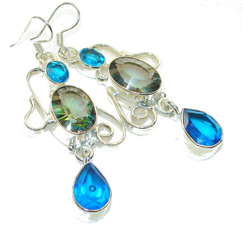 Exotic Design!! Magic Topaz Sterling Silver earrings