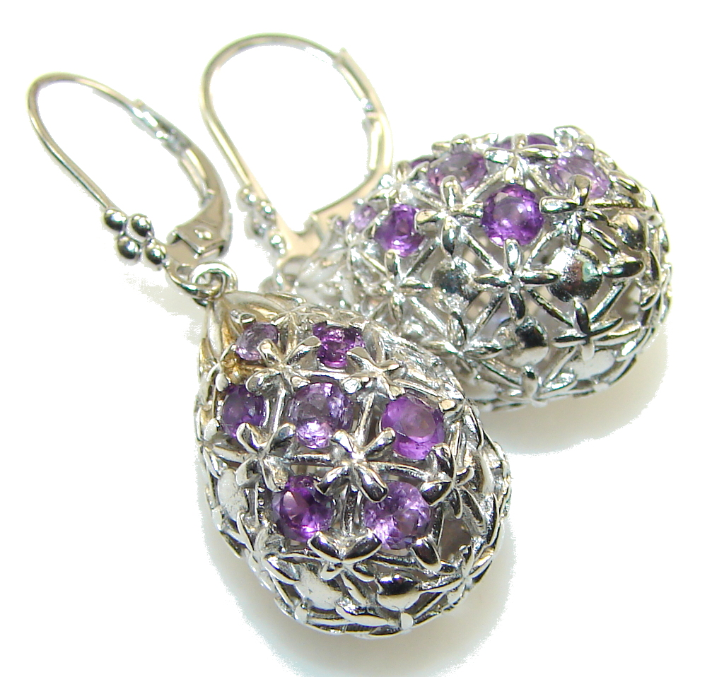 Fashion Style! Purple Amethyst Sterling Silver earrings