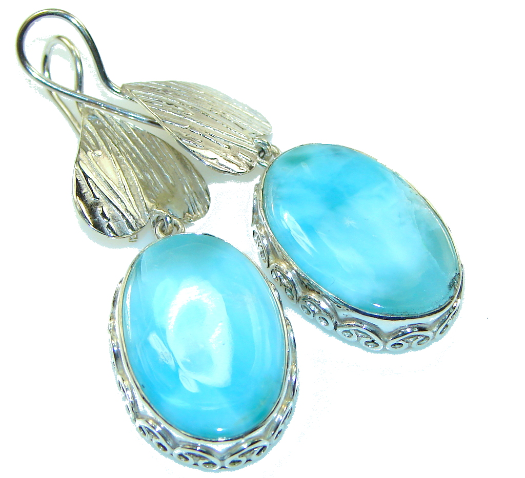 Awesome Style!! Blue Larimar Sterling Silver earrings
