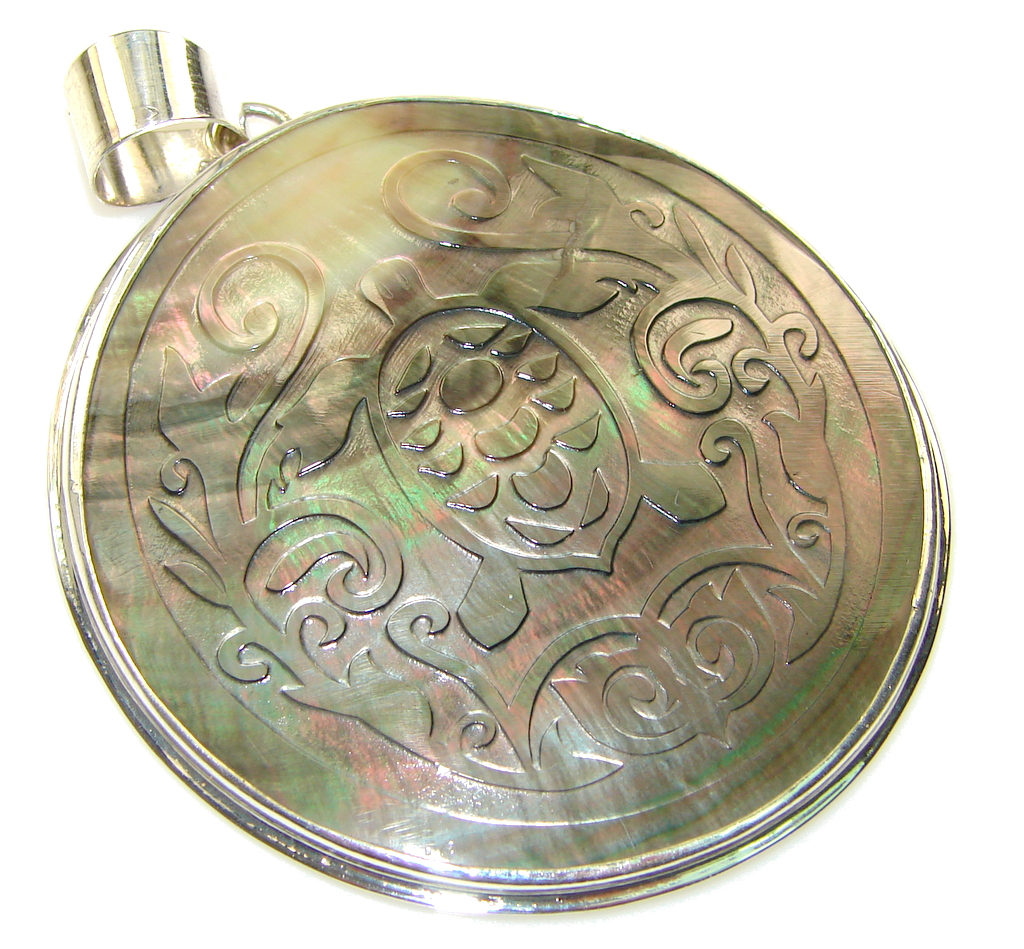 Big! Secret Rainbow Abalone Sterling Silver Pendant