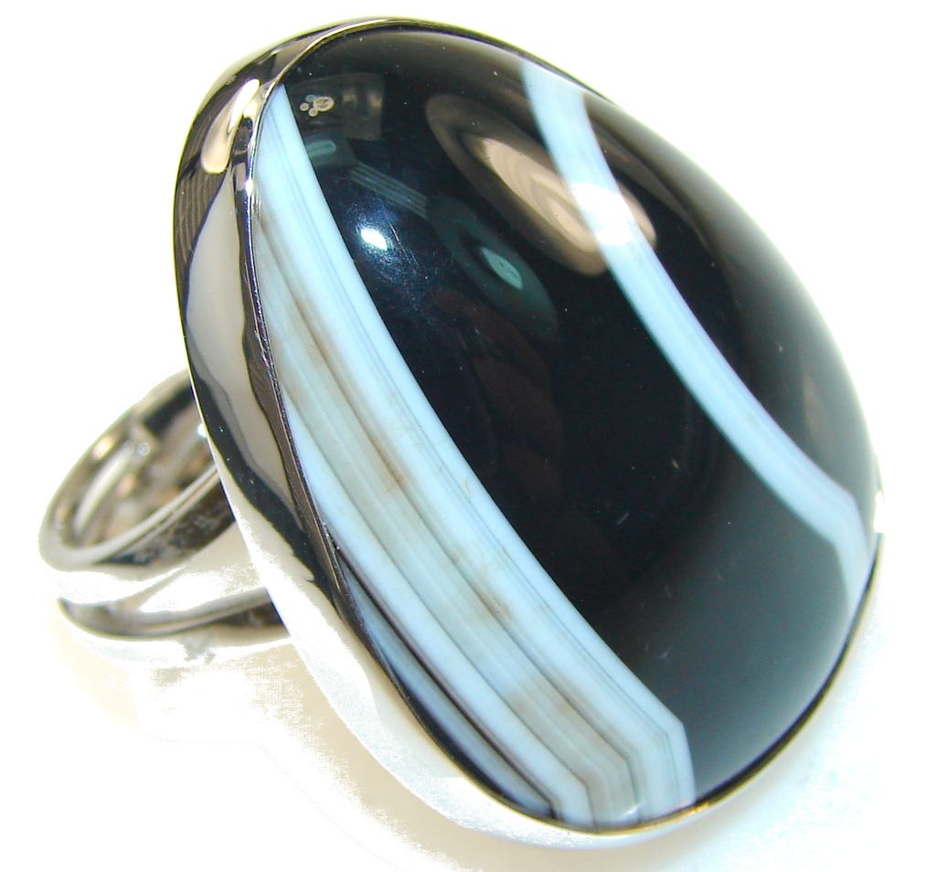 Beautiful Black Botswana Agate Sterling Silver Ring s. 8 - Adjustable