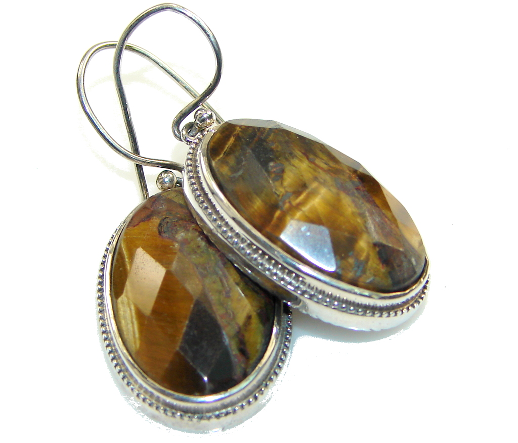 Awesome Style! Tiger's Eye Silver Sterling earrings