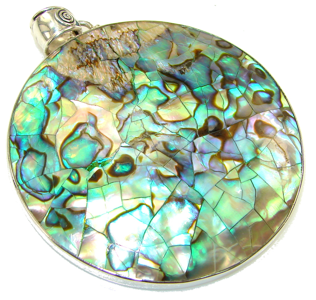 Big! Vision Rainbow Abalone Sterling Silver Pendant