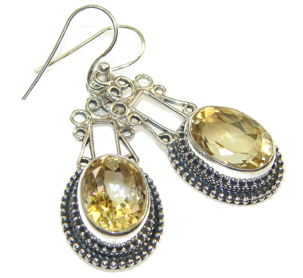 Delicate! Yellow Citrine Silver Sterling earrings