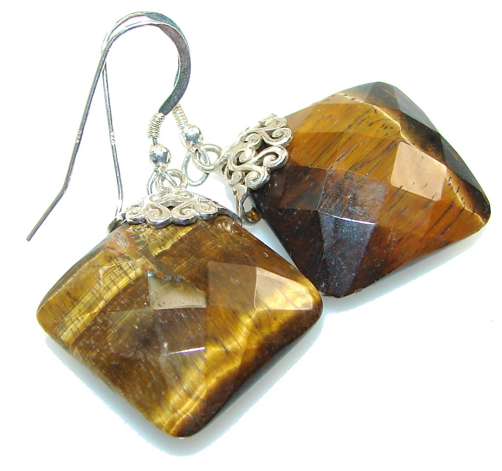 Fabulous! Brown Tigers Eye Sterling Silver earrings