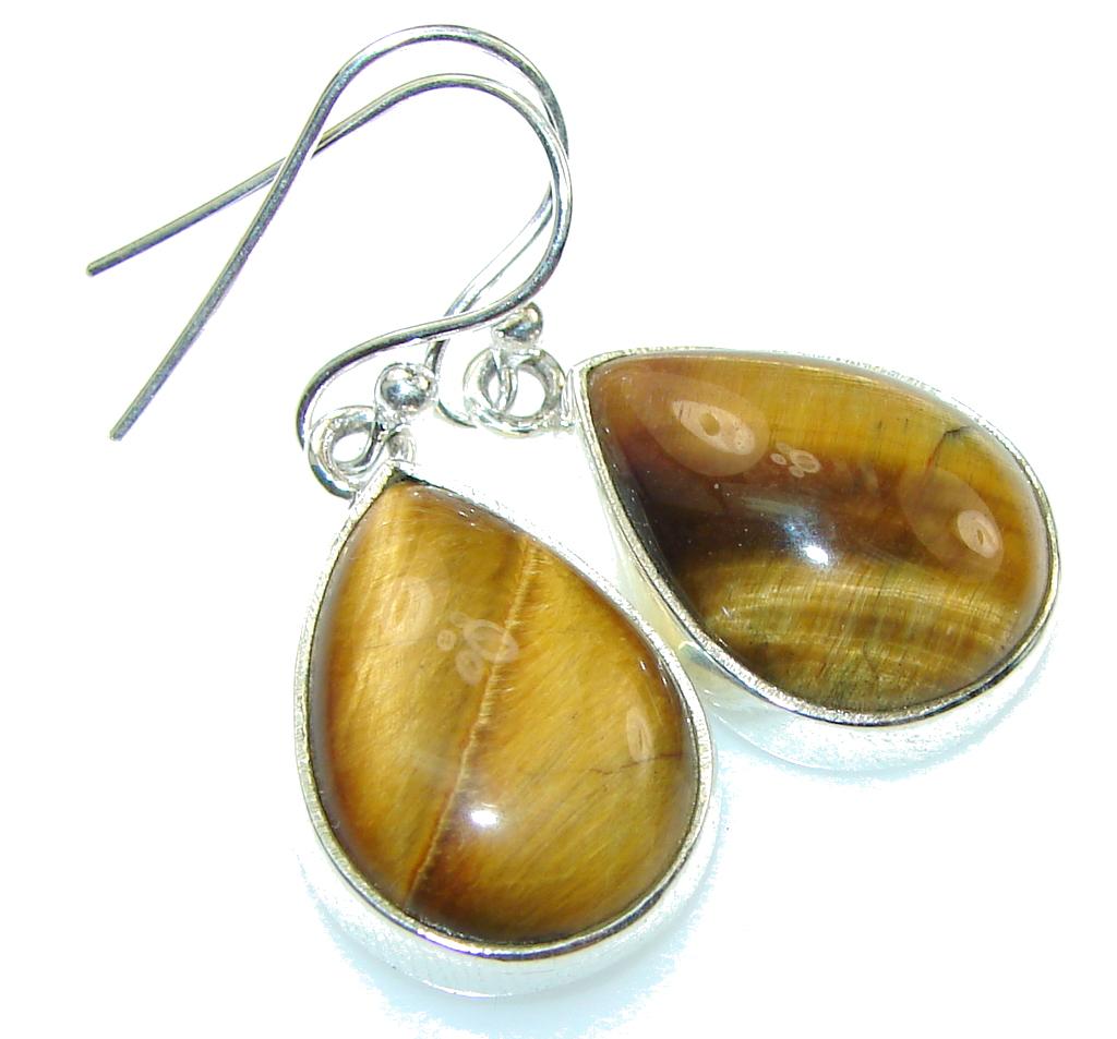 Delicate!! Brown Tigers Eye Sterling Silver earrings
