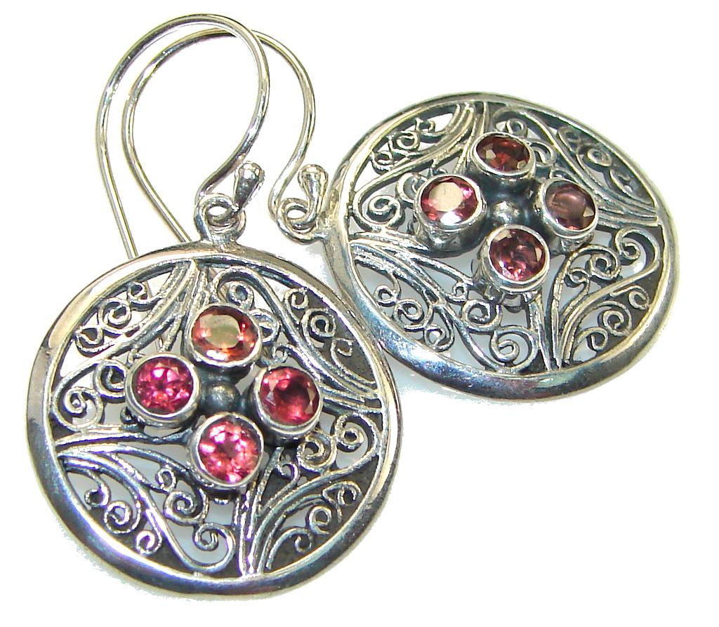 Delicate! Red Garnet Quartz Sterling Silver earrings