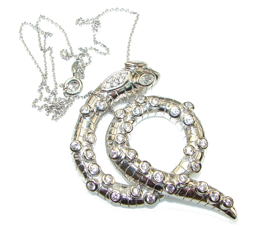 Amazing Design! Snake White Topaz Sterling Silver necklace
