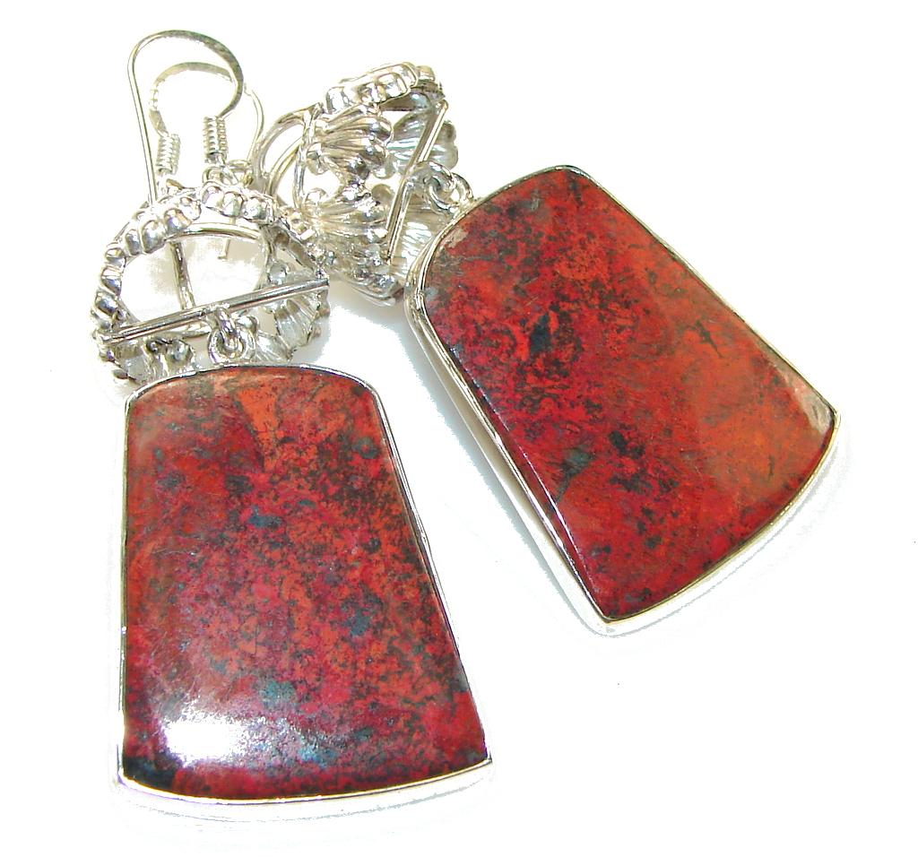 Fabulous! Red Sonora Jasper Sterling Silver Earrings
