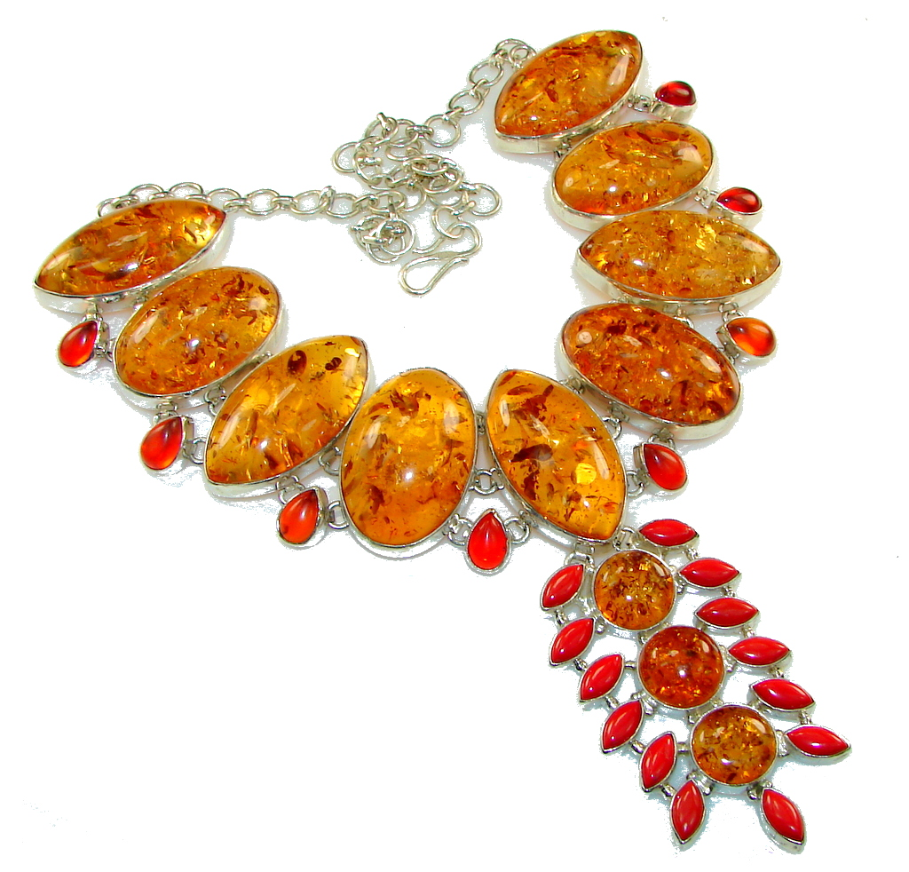 Large! Fabulous Created Amber Sterling Silver necklace