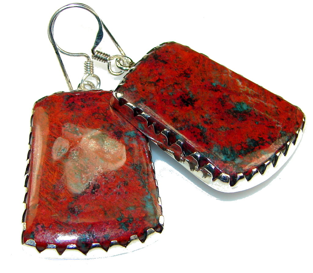 Instant Classic!! Red Sonora Jasper Sterling Silver Earrings