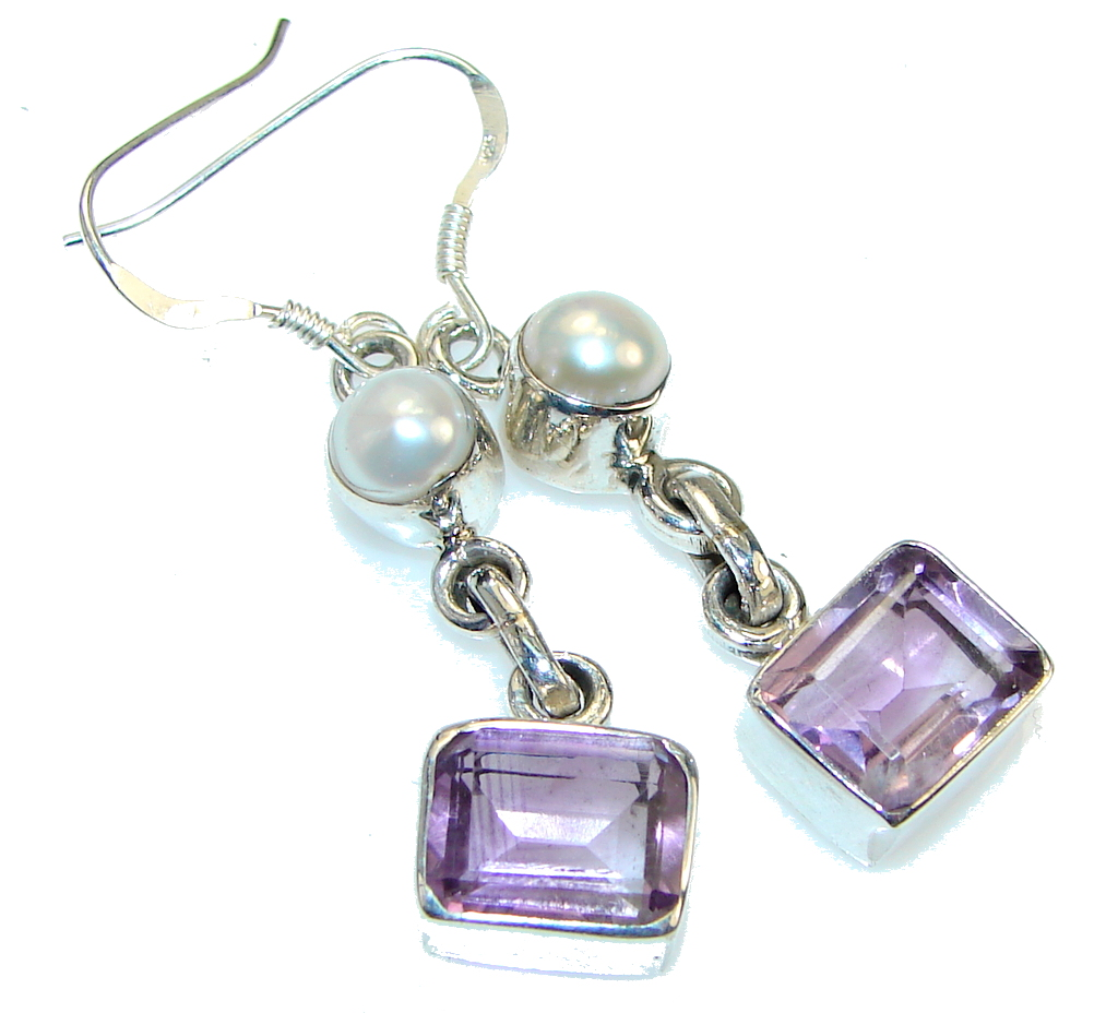 Delicate Design! Purple Amethyst Sterling Silver earrings