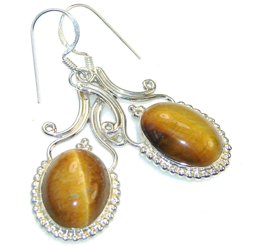 Fabulous!! Brown Tigers Eye Sterling Silver earrings