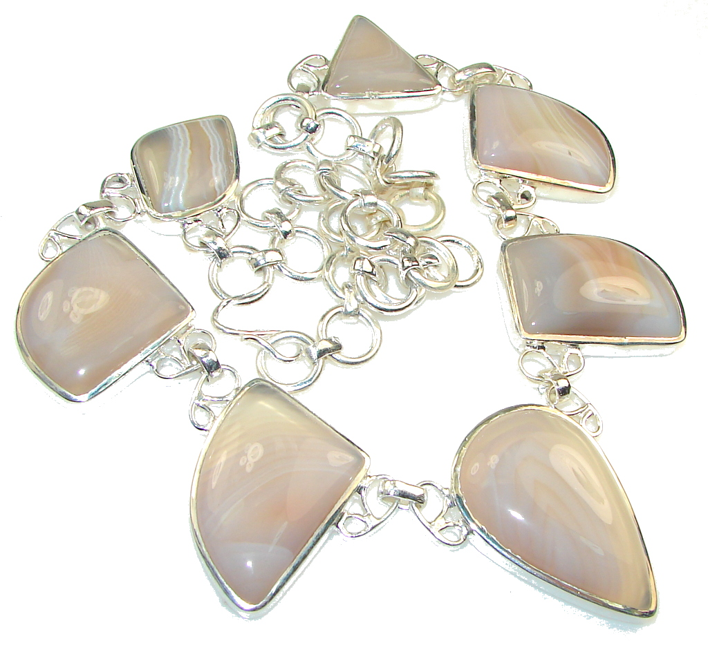 Dainty Daisy!! Botswana Agate Silver Overlay necklace