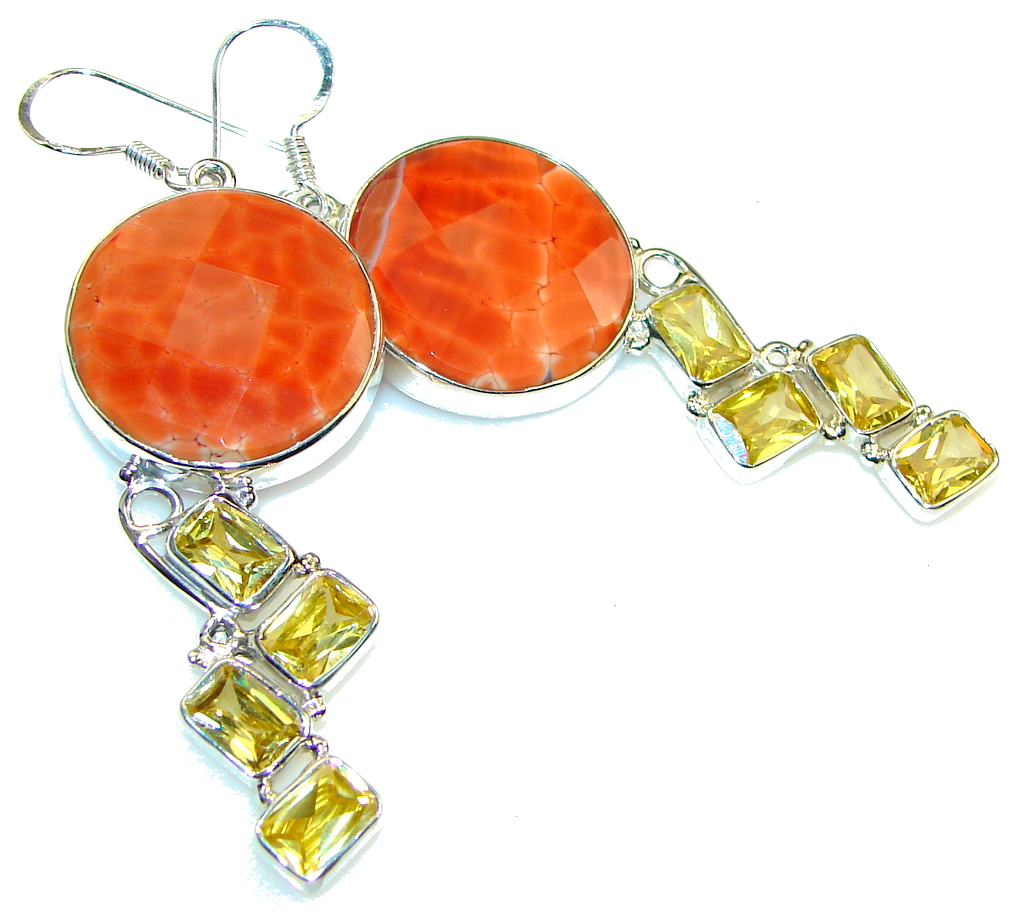 Ray Of Light Mexican Fire Agate Sterling Silver earrings