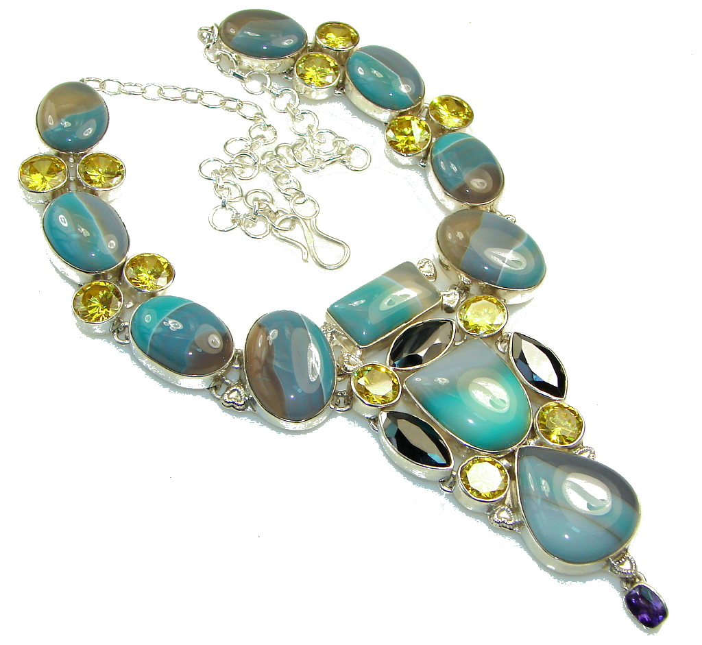 Beautiful Design!! Botswana Agate Sterling Silver necklace