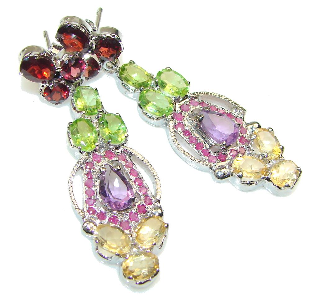 Fancy Quality!! Natural Purple Amethyst Sterling Silver earrings