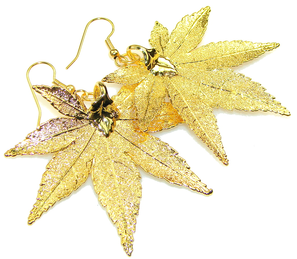 Big! Amazing Gold Plated Leaf Sterling Silver earrings