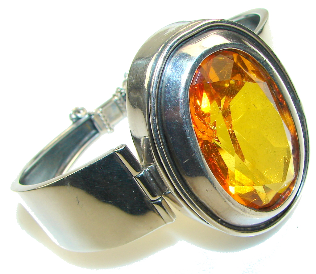Incredible!! Facted Polish Amber Sterling Silver Bracelet