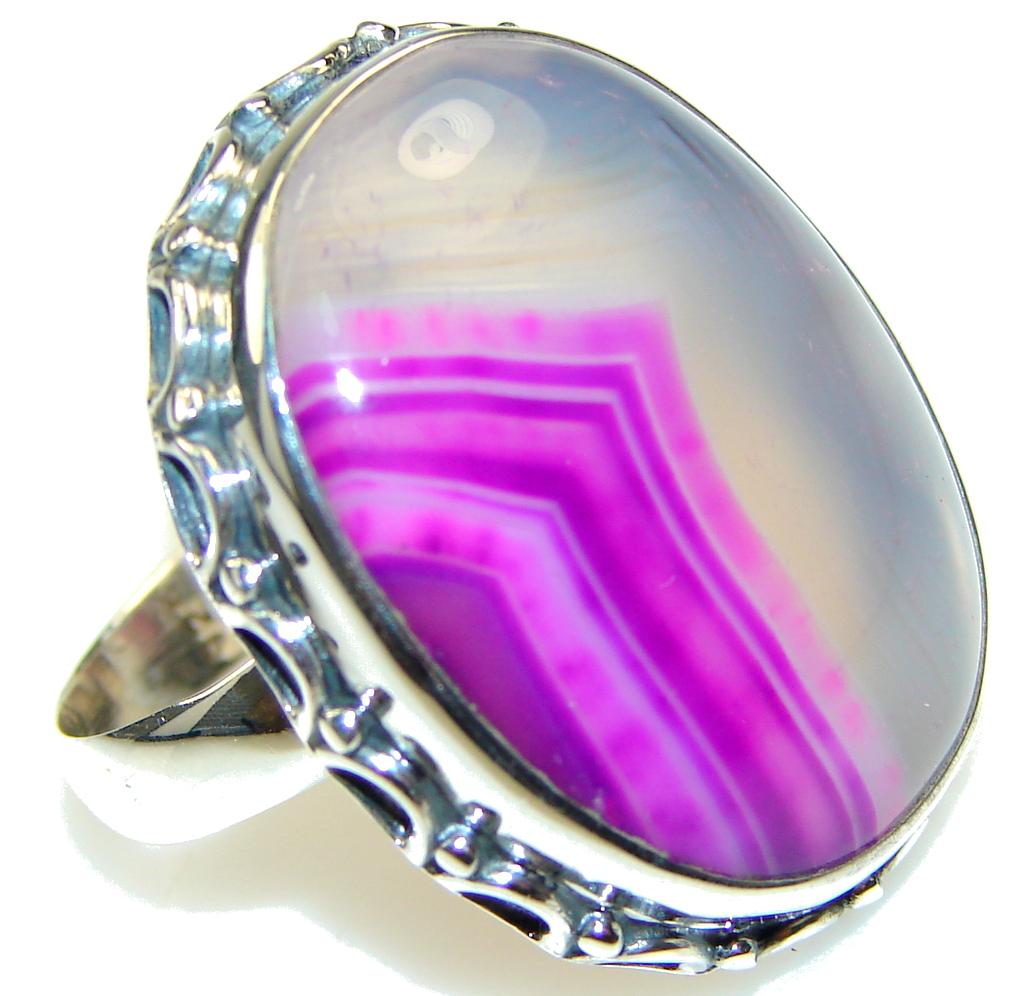 Secret!! Botswana Agate Sterling Silver Ring s.10 1/4