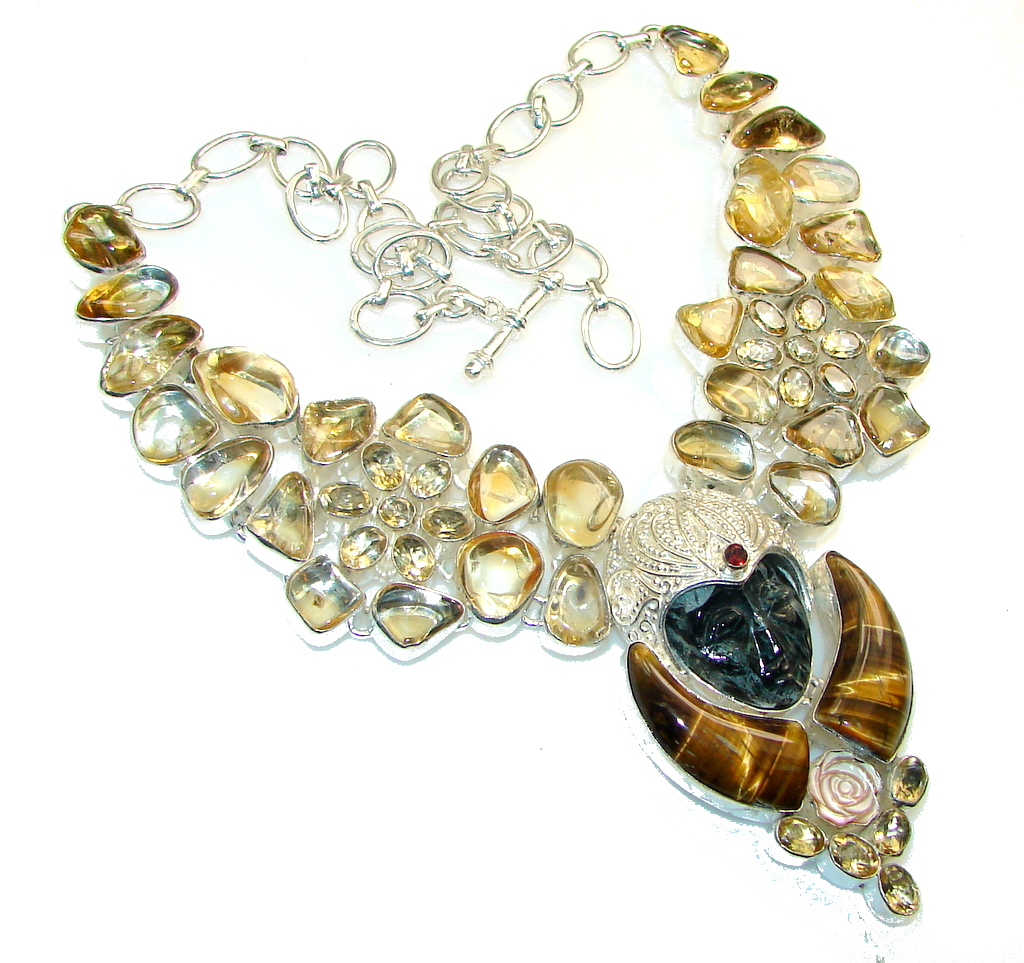 Fashion Design!! Yellow Citrine Sterling Silver Necklace